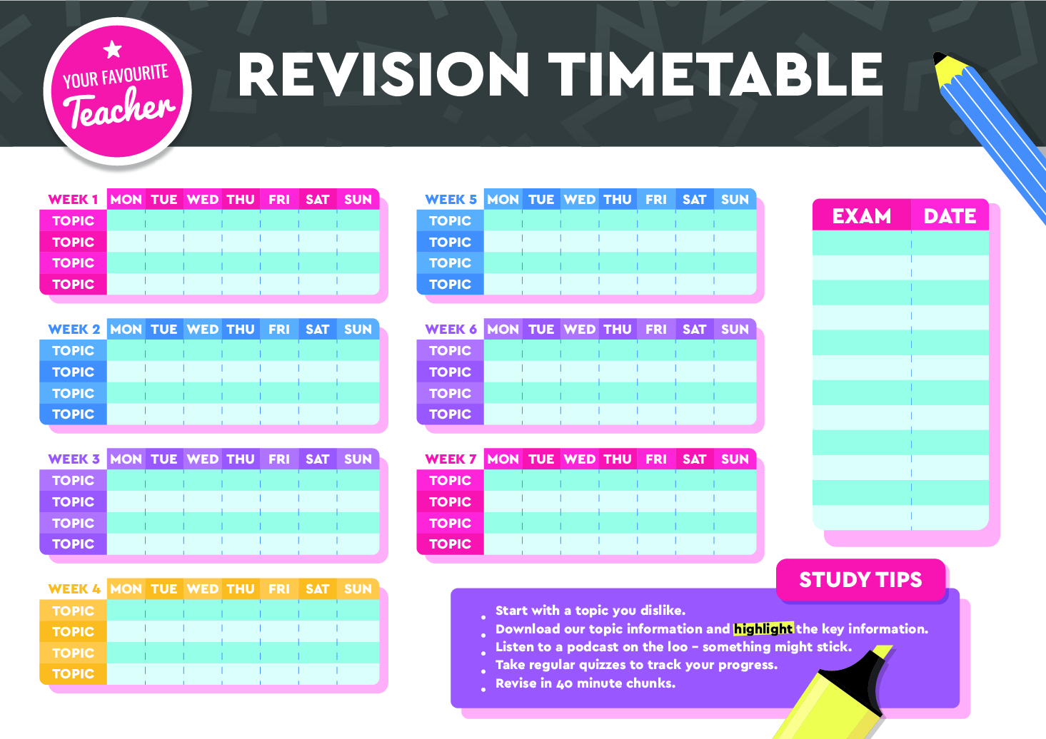 free revision timetable